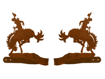 Bucking Bronco Rider Metal Curtain Tie Backs