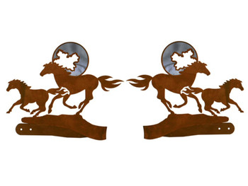 Burnished Running Horse and Moon Metal Curtain Tie Backs