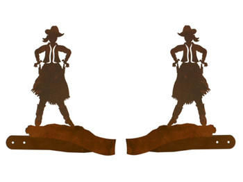 Cowgirl Drawing Pistol Metal Curtain Tie Backs