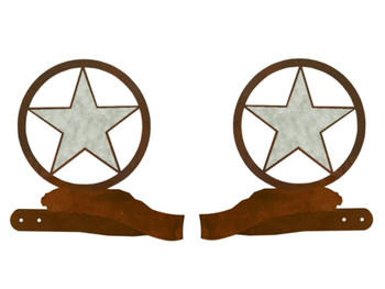 Burnished Texas Star Metal Curtain Tie Backs