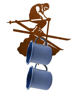 Snow Skier Metal Mug Holder Wall Rack