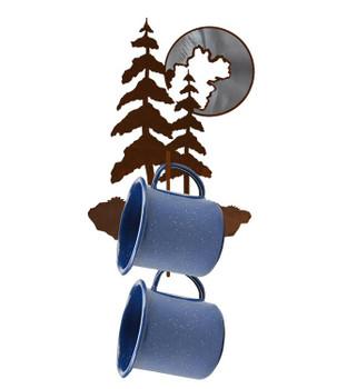 Burnished Pine Trees and Moon Metal Mug Holder Wall Rack