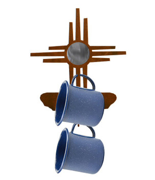 Burnished New Mexico Sun Metal Mug Holder Wall Rack