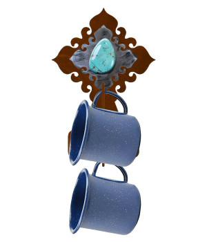 Burnished Turquoise Stone Metal Mug Holder Wall Rack
