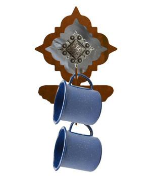 Silver Diamond Concho Metal Mug Holder Wall Rack