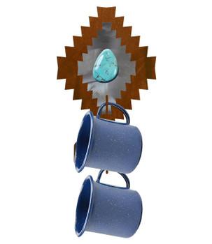 Desert Diamond with Turquoise Stone Metal Mug Holder Wall Rack