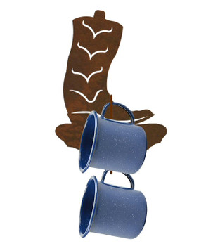 Cowboy Boot Metal Mug Holder Wall Rack