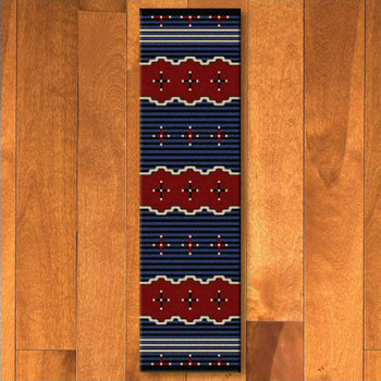 2' x 8' Big Chief 2 Blue Southwest Rectangle Runner Rug