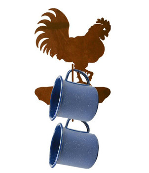 Rooster Bird Metal Mug Holder Wall Rack