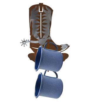 Burnished Cowboy Boot Metal Mug Holder Wall Rack
