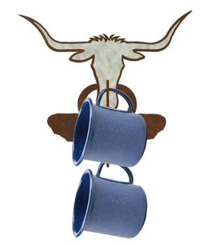 Burnished Texas Longhorn Steer Metal Mug Holder Wall Rack