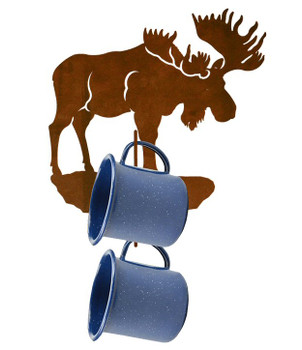 Moose Metal Mug Holder Wall Rack