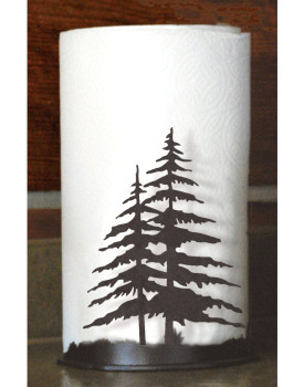 Double Pine Trees Metal Paper Towel Holder