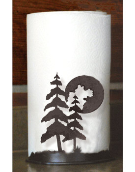 Moon and Pine Trees Metal Paper Towel Holder