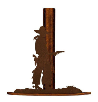 Cowboy with Pistol Metal Paper Towel Holder