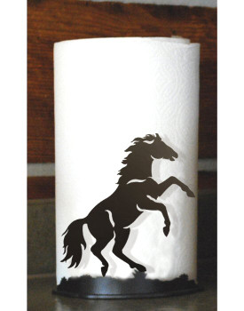 Rearing Horse Metal Paper Towel Holder