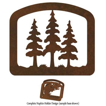 Triple Pine Trees Metal Napkin Holder