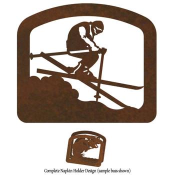 Skier Metal Napkin Holder