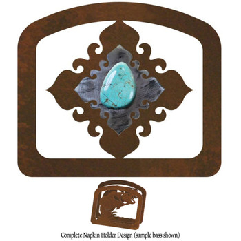 Turquoise Stone Metal Napkin Holder