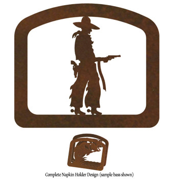 Cowboy with Pistol Metal Napkin Holder