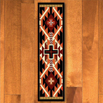 2' x 8' Rustic Cross Black Southwest Rectangle Runner Rug