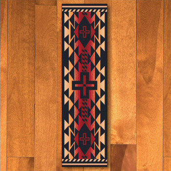 2' x 8' Rustic Cross Burnt Red Southwest Rectangle Runner Rug