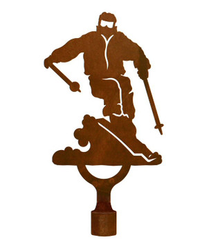 Large Skier Metal Lamp Finial