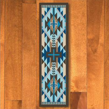 2' x 8' Rustic Cross Indigo Turquoise Southwest Rectangle Runner Rug