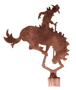 Bucking Bronco Rider Metal Lamp Finial