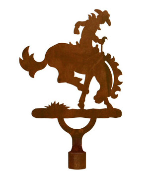 Large Bucking Bronco Rider Metal Lamp Finial