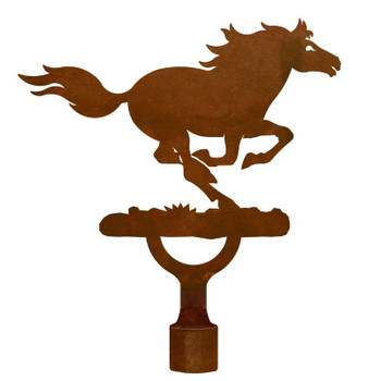 Large Running Wild Horse Metal Lamp Finial