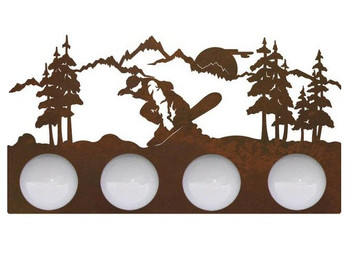Snowboarder in the Mountains Four Light Metal Vanity Light