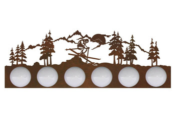Snow Skier in the Mountains Six Light Metal Vanity Light