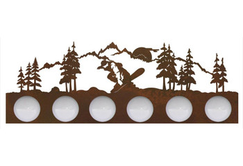 Snowboarder in the Mountains Six Light Metal Vanity Light