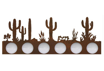 Desert Scene Six Light Metal Vanity Light