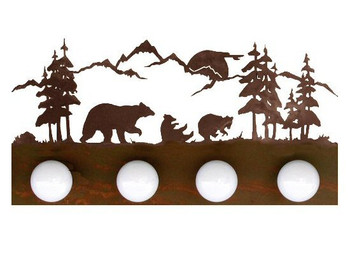 Bear Scene Four Light Metal Vanity Light