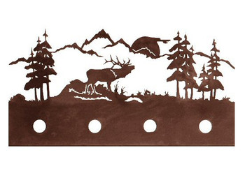 Elk Scene Four Light Metal Vanity Light
