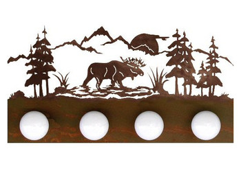 Moose Scene Four Light Metal Vanity Light