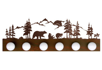 Bear Scene Six Light Metal Vanity Light