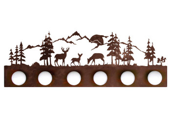 Deer Scene Six Light Metal Vanity Light