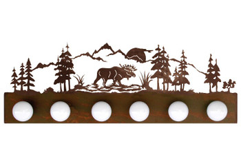Moose Scene Six Light Metal Vanity Light