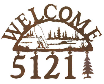 Man Fly Fishing Metal Address Welcome Sign