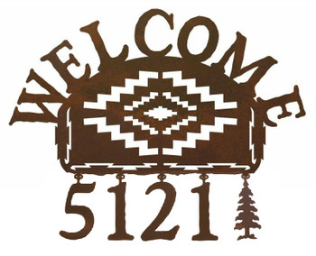 Desert Diamond Metal Address Welcome Sign