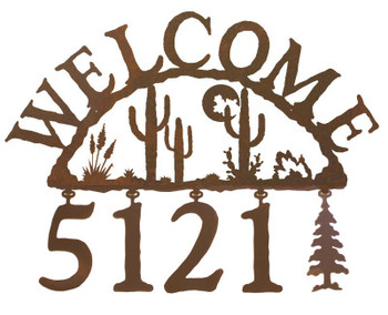 Desert Moon Metal Address Welcome Sign