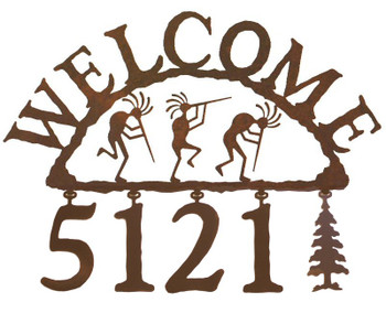 Kokopelli Metal Address Welcome Sign