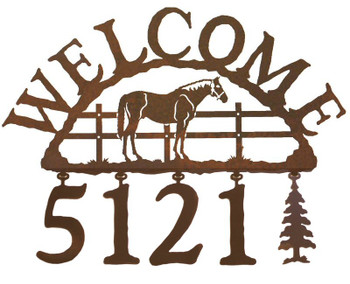 Bay Horse Metal Address Welcome Sign