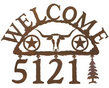 Texas Star with Longhorn Steer Metal Address Welcome Sign