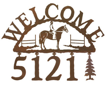 English Horse Rider Metal Address Welcome Sign
