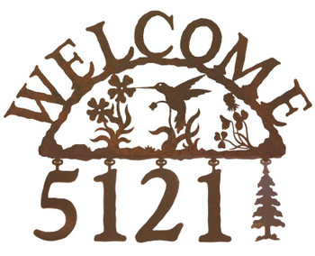 Hummingbird Metal Address Welcome Sign