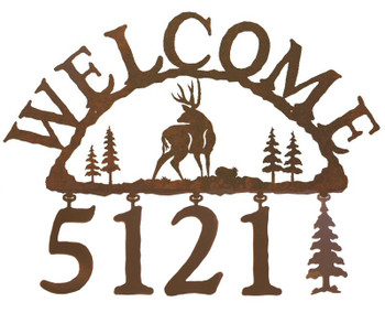 Mule Deer Metal Address Welcome Sign